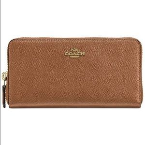 COACH BROWN ACCORDION CROSSGRAIN LEATHER WALET
